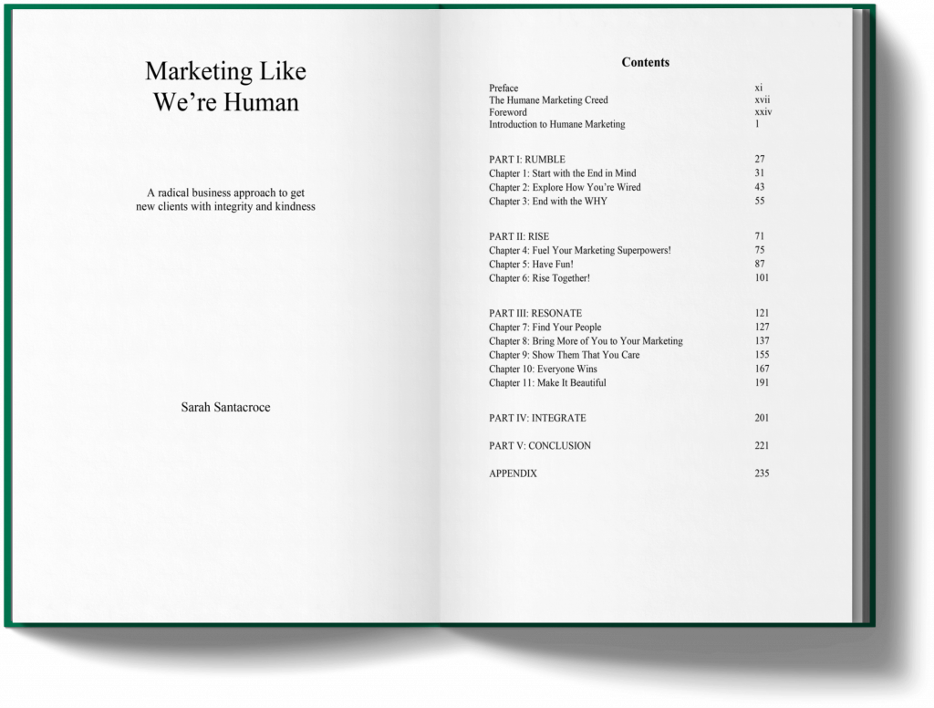 Marketing Like We're Human Table of Content